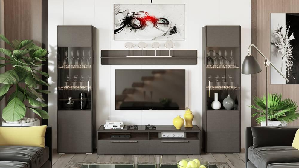 Модульная гостиная «Наоми» (Фон серый, Джут)