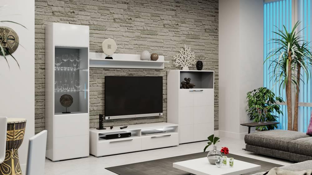 Модульная гостиная «Наоми» (Белый глянец)