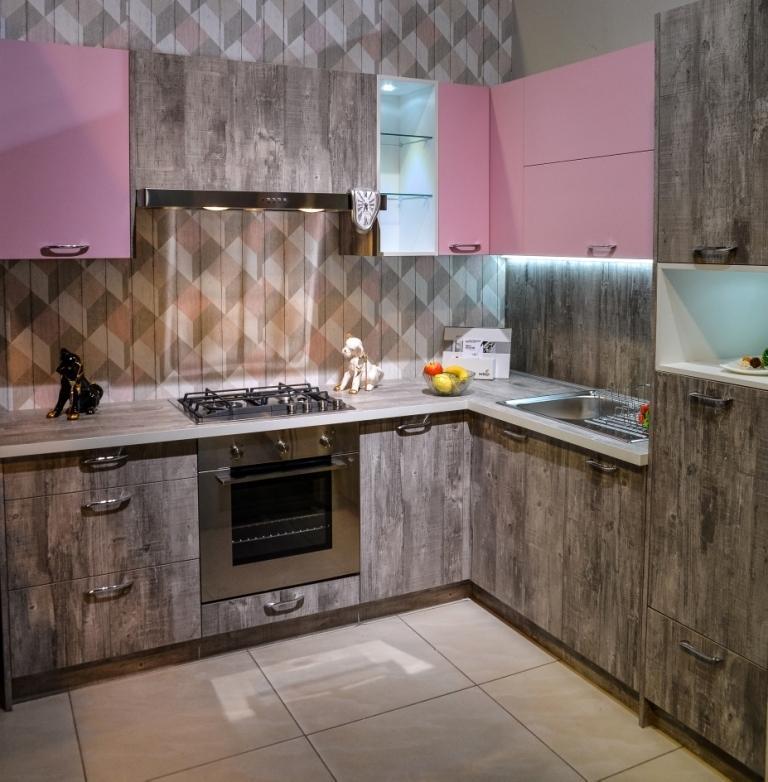 Кухонный гарнитур Петра бетон серый