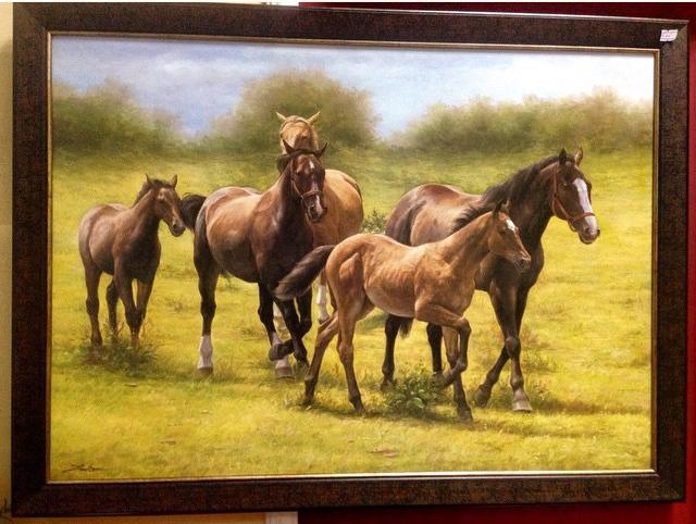 """Картина """"Табун гнедых лошадей"""""""