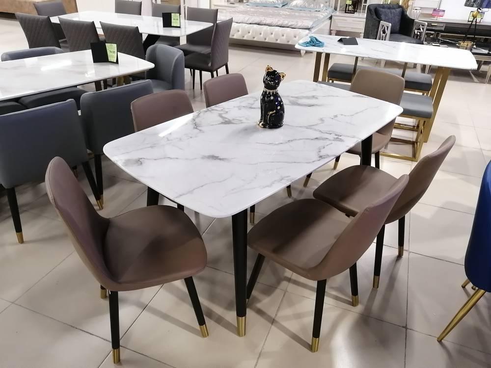 Стол мрамор, 6 стульев