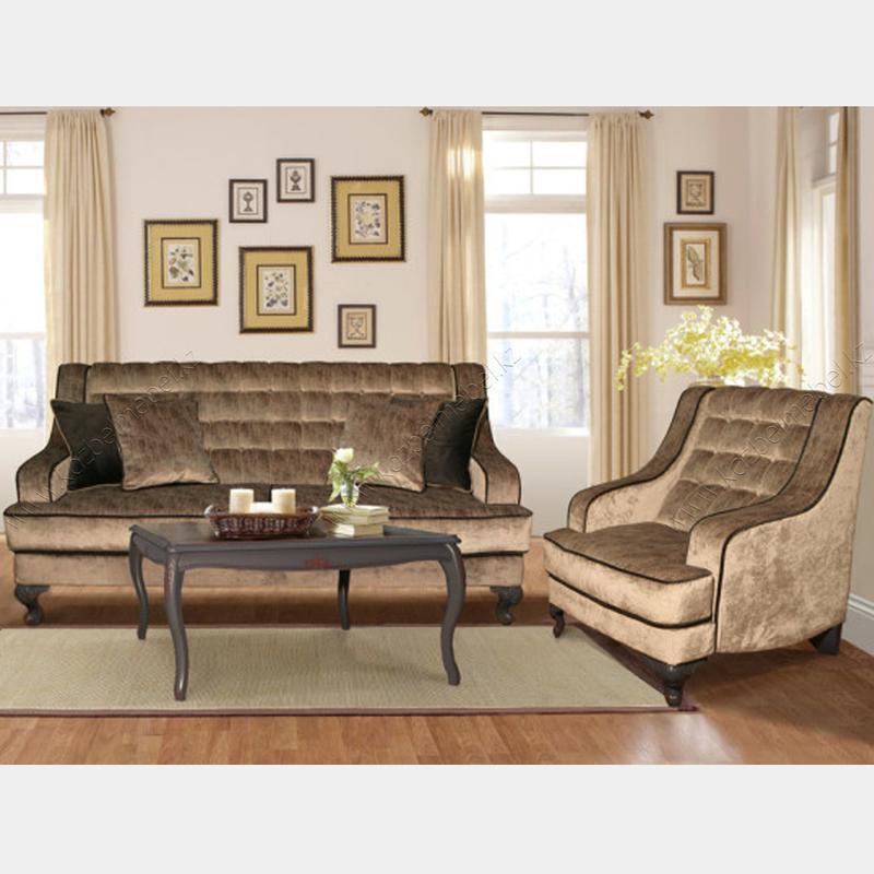 Комплект мягкой мебели Мокко, на резных ножках и оригинальными подлокотниками и спинкой