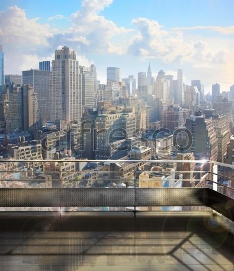 """Фреска """"Современный город с крыши"""""""