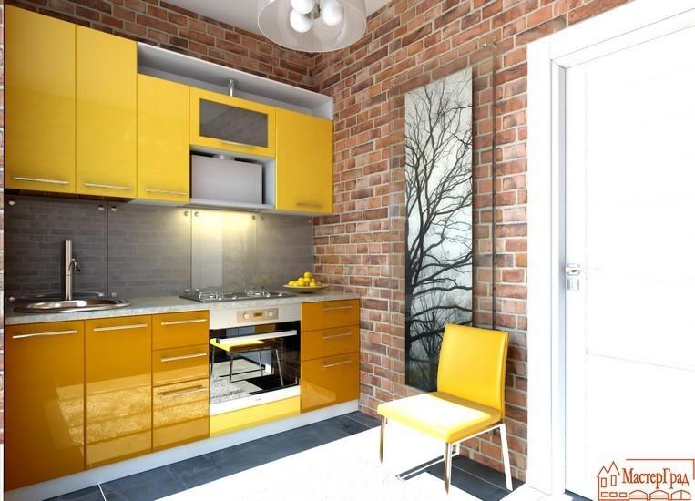 Кухня Модель 48 оранжевый металлик