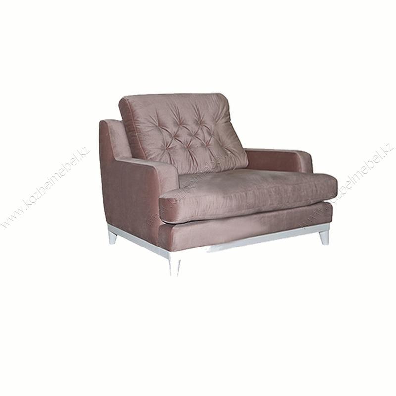 """Диван с креслом """"Ева"""", с ромбовой прострочкой и открытыми деревянных ножках"""