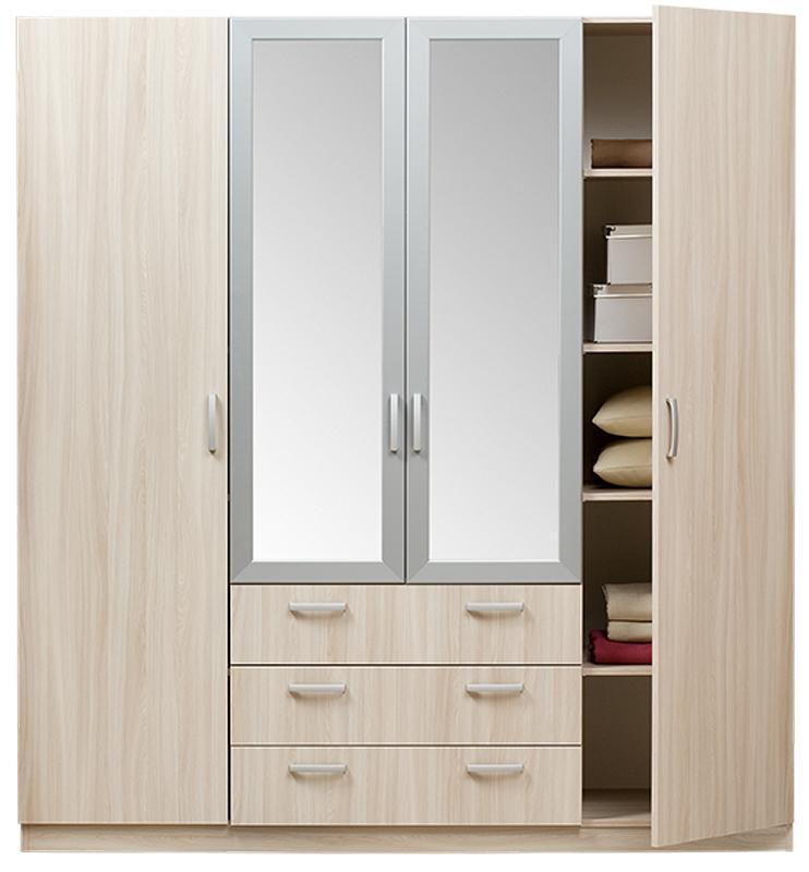 Шкаф Эконом 4х-дверный с зеркалом (с белыми вставками)