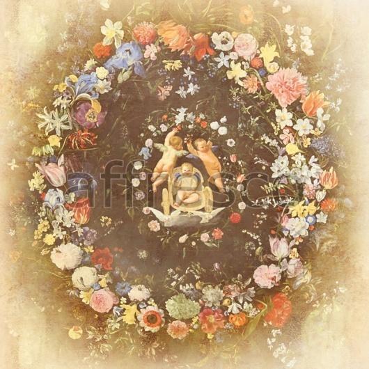 """Фреска """"Ангелы в кругу цветов"""""""