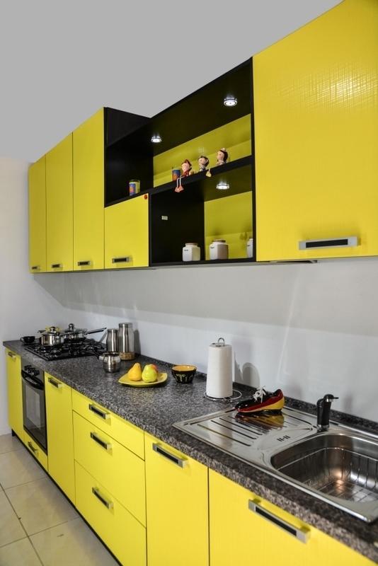 Кухонный гарнитур Сабрина желтый/черный